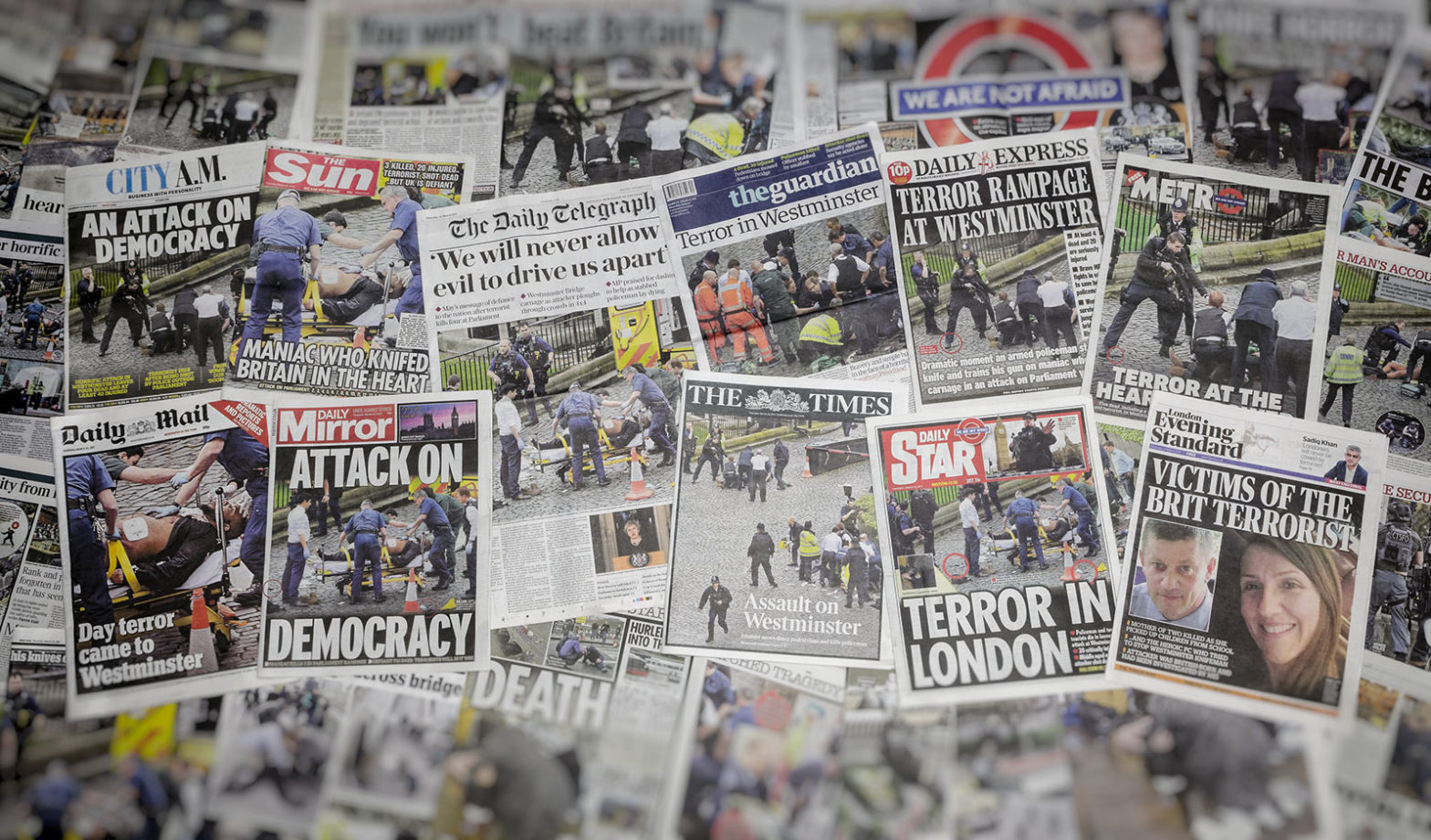 Newspaper covers about terrorism